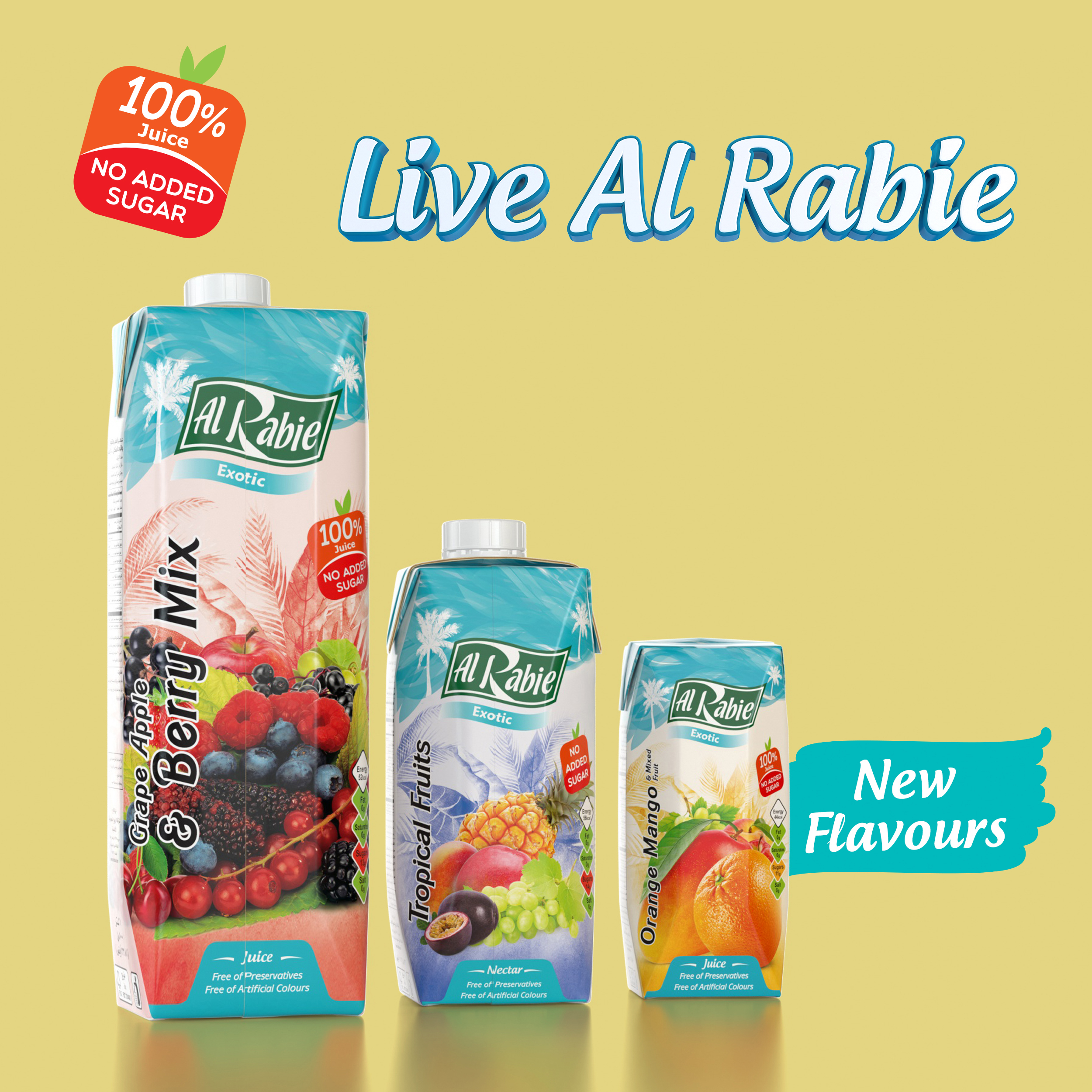 Live Al Rabie!   New face for an amazing great taste….            100% No Added Sugar!