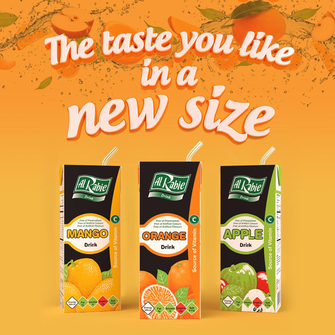 New: Al Rabie Drinks in 200ml packs <br> Best Taste for More Fun
