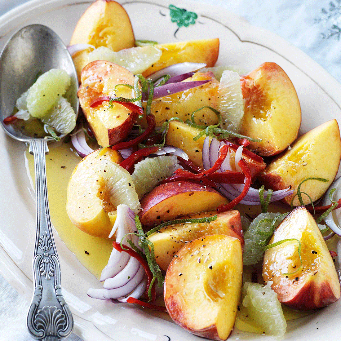 Peach, Lime & Chili Salad with fresh Dressing & Al Rabie Apple juice
