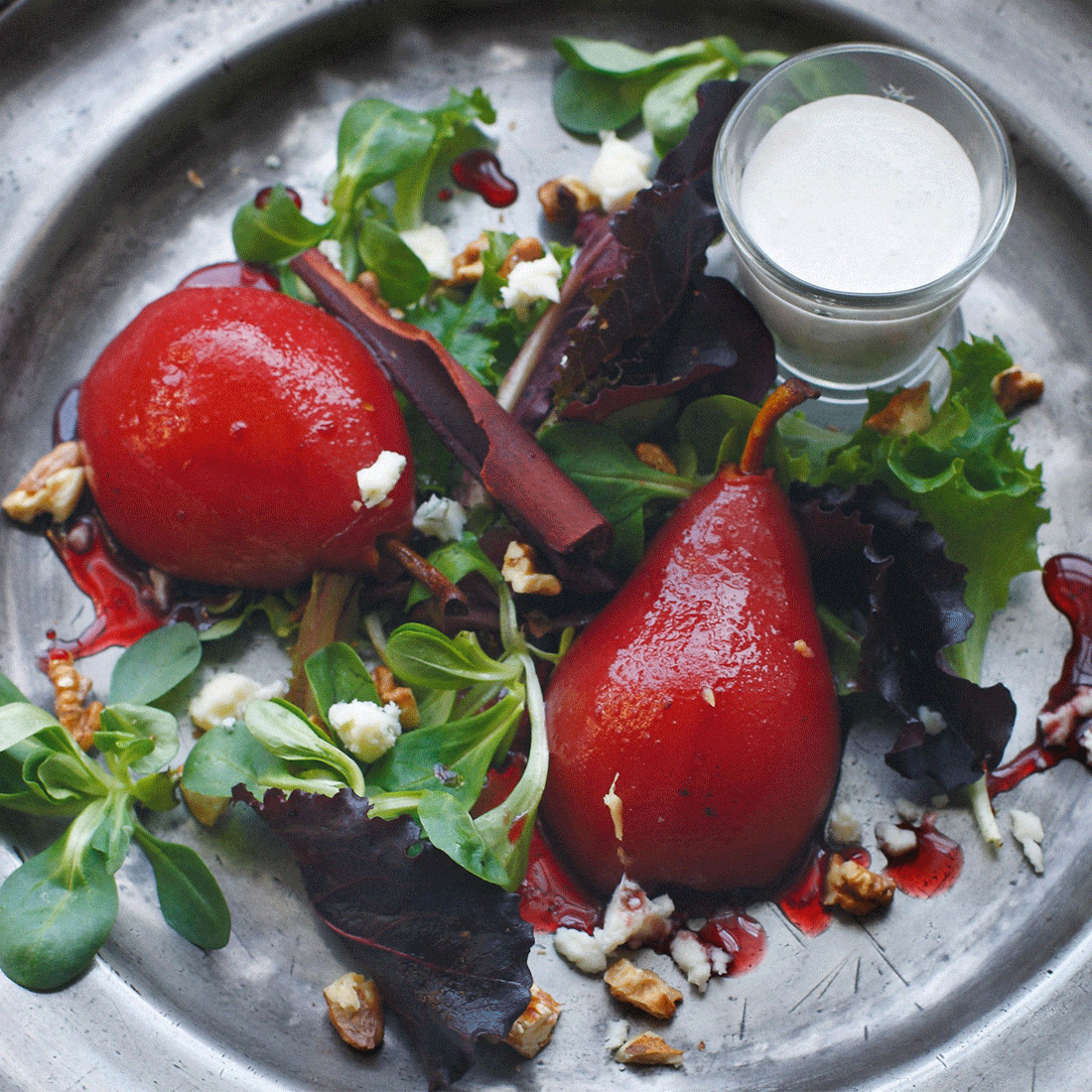 Mulled Pear Salad with Roquefort Dressing and Al Rabie Berry Mix